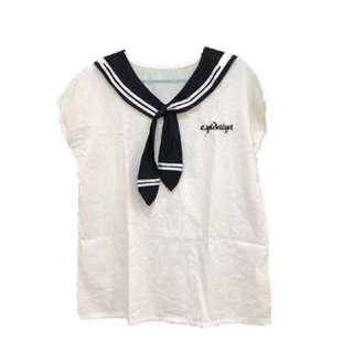 🚚 棉麻水手風水手服短袖T-shirt
