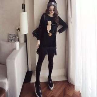❤️[全新預購]韓版時尚款鬆加絨下蕾絲拼接上衣