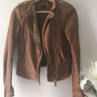 Zara brown leather jacket
