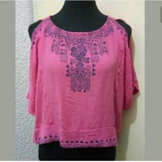WA300 Mudd Pink Cold Shoulder Blouse - Large (EUC)