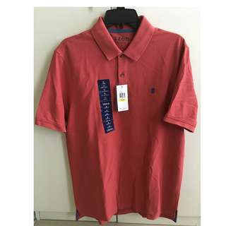 IZOD Short Sleeve Polo Shirt (saltwater red color) - Medium