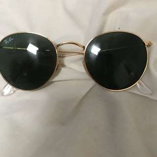 Round rayban sunglasses green lens gold frame