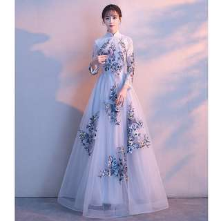 Gown Collection - Elegant Light Grey Oriental Cheongsam Style Long Sleeves Gown