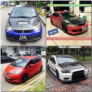 Weekday modded sporty car rental avail now (honda civic / Honda Integra / Honda Fit RS / Mitsubishi Lancer ex / colt R / Subaru Impreza SGT turbo / Toyota axio)