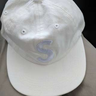 Supreme White Washed Denim S Logo 6 Panel Hat