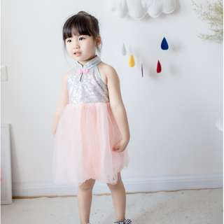 NEW - Girls Qipao cheongsam sequin dress sleevless