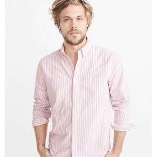 Kemeja Abercrombie Pink White Stripe Size L