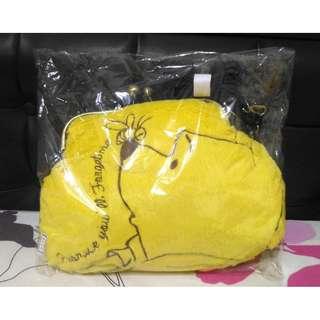 日本 迪士尼 小熊維尼 維尼 珠扣 毛絨 背包 包 側背包 景品