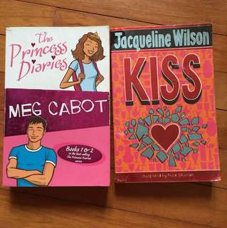 The Princess Diaries by Meg Cabot and Kiss by Jacqueline Wilson