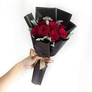 Red roses with black wrapping style (specially for valentine's day)