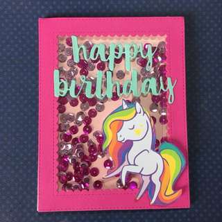 Unicorn birthday shaker card