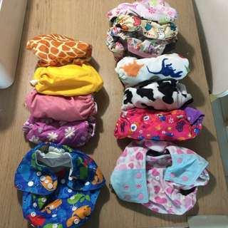 [Like New] Baby Cloth Diapers x 12 + 2.5 Bamboo Liner Sheets + Bamboo inserts