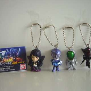 ACCEL WORLD Black Snow Princess Silver Crow Cyan Pile Keychain Gashapon Figures 1 SET 4 ITEMS