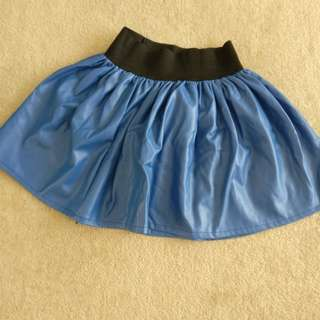 Blue faux leather skirt