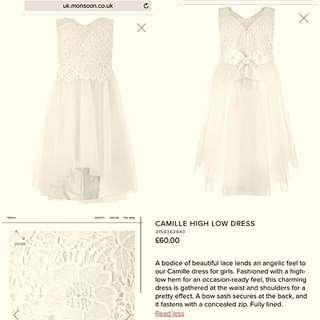 White Dress Flower Girl First Communion 10-12yrs