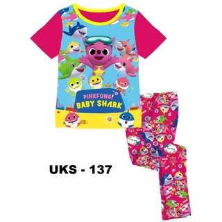 Baby Shark Short Sleeve Pyjamas For (2 Yrs To 7 Yrs)