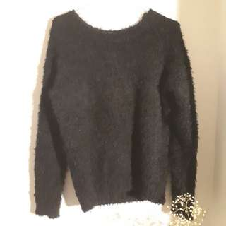 Fuzzy Oversized Black Sweater (Size M)