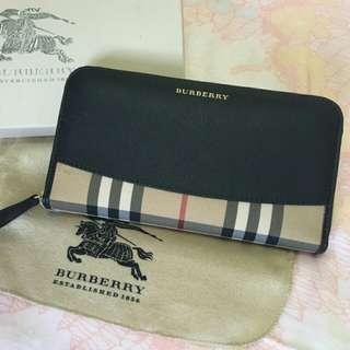 【全新正品】Burberry牛皮長夾 經典格紋 黑色 戰馬專櫃正品