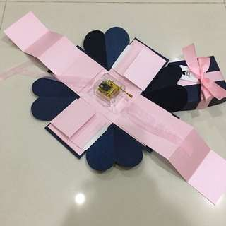DIY Explosion box with musical box, 8 waterfall and 2 pull Tab in navy & pink