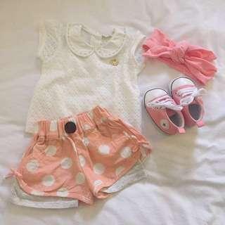 Baju bayi atasan brokat dan celana gemes