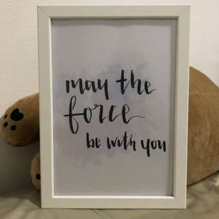 Star Wars Framed Art Typgraphy with Watercolour
