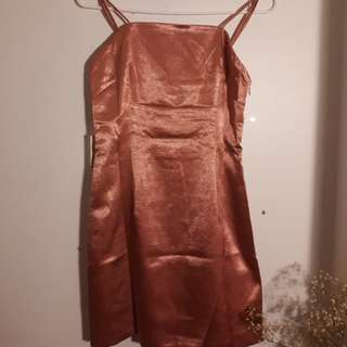 Pink Satin Dress (size S)