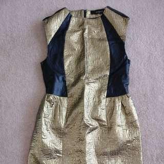 Zeitgeist metallic dress with leather panel gold