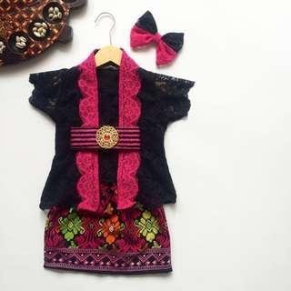 Batik skirt with lace blouse