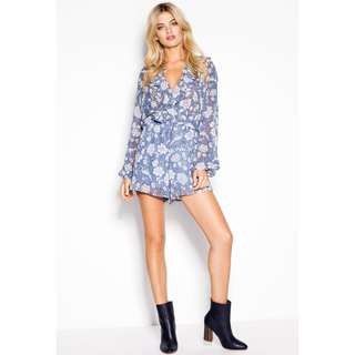 SHEIKE Romance Playsuit in Dust Blue Size 6 RRP $149.95