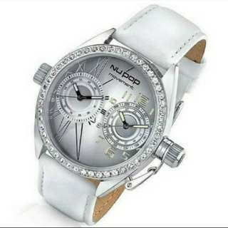 NU POP Crystal Embezzled White Leather Watch