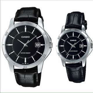 Casio Couple Leather Black