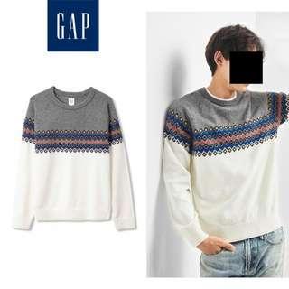 🚚 GAP 復古幾何圖案拼接羊毛圓領針織衫
