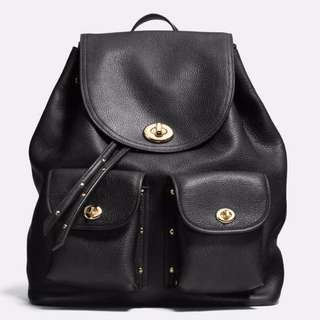 🔥READYSTOCK! Coach Turnlock tie rucksack / backpack in Refined Pebbled Leather