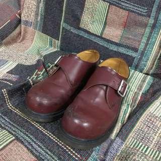🚚 Dr.martens 酒紅色孟克鞋 金屬釦環 vintage 日本