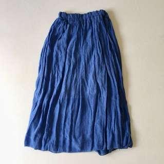 High waist faded royal blue skirt