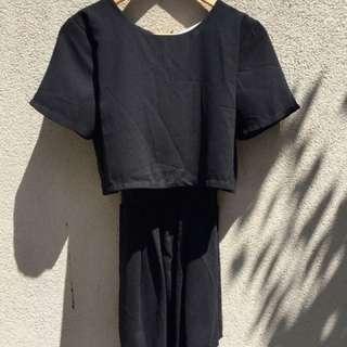 Black jumpsuit with lace detail