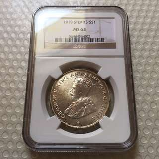 Straits Settlements 1919 UNC King George $1 silver coin