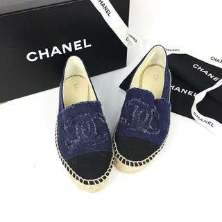 Chanel Espadrilles in Navy & Black Canvas