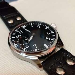 全新 飛機師 飛行員手上鍊 自動錶 機械錶 Pilot Watch 44mm 透明底