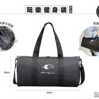 中國信託 x 馬來貘 玩樂健身袋 旅行袋 背包 運動包 黑色 附背帶 肩背 側背 皆可 全新