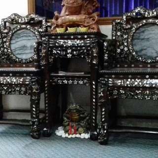 Antique Black Wood Furniture with Mother of Pearl inlay