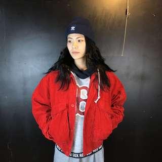 第二件六折*古著紅色燈芯絨厚款翻領飛行夾克/外套