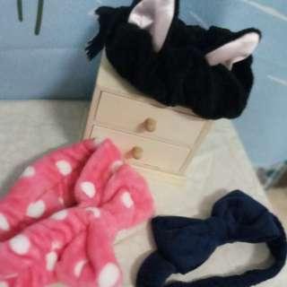 粉紅點點/貓耳朵黑色/深藍大蝴蝶結♡髮帶