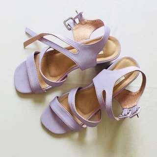 Cora&Bear lavender block heels size 7