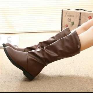 顯瘦低跟長靴