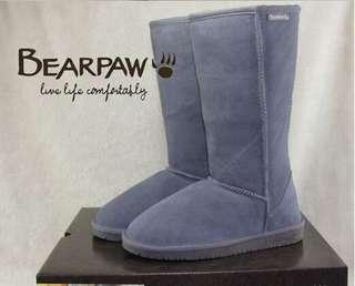 全場最低價美國BEARPAW熊掌雪地靴正品牛皮羊毛一體保暖中筒靴610款 防滑防水女長靴短靴雨靴彈力靴/運動鞋/過膝靴