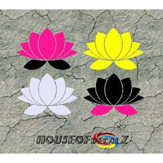 "Custom ""Lotus Flower"" Diecut Vinyl Decal No Background"