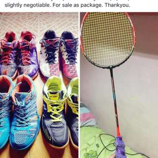 4 Pre loved Badminton Shoes all size 9 (Sale for package) plus free racket