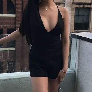 Plain black playsuit