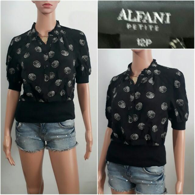 (12P) Alfani black printed top